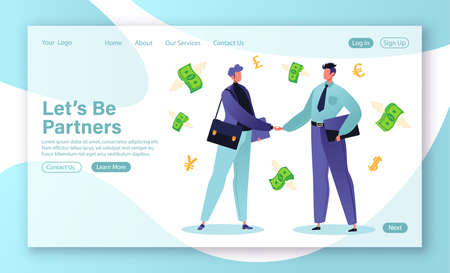 Concept for landing page on successful business, partnership. Two businessmen shake hands, have agreed on successful mutually beneficial deal, contract that will bring cash infusion to their business.
