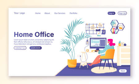 Home office concept for landing page template. Girl character in flat cartoon style works at home, in cozy and comfortable environment of modern home interior. Remote work, freelancing, self-employee