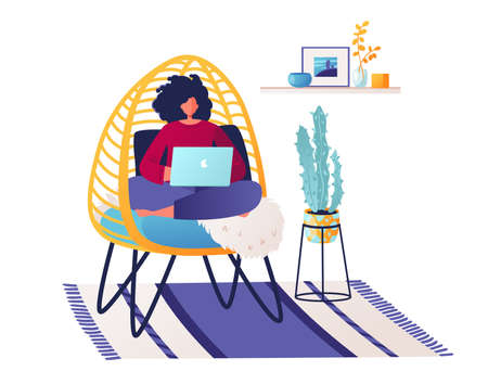 Woman, programmer, creative outsourcing worker, sitting in a large wicker chair working on laptop in cozy, stylish modern interior. Flat vector cartoon character freelancer working remotely at home.