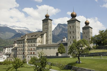 balthasar: Onion spires of the Baroque Stockalper Palace in Brig, Valais, Switzerland Stock Photo