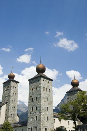 melchior: Onion spires of the Baroque Stockalper Palace in Brig, Valais, Switzerland Stock Photo