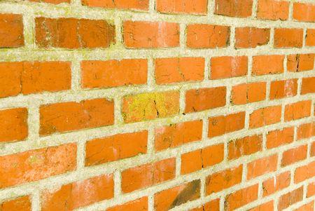 morter: Muro di mattoni rossi con fuoco prospettico