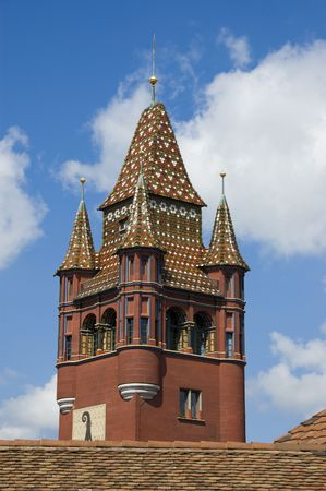 rathaus: Basel Switzerland Rathaus clock tower Stock Photo