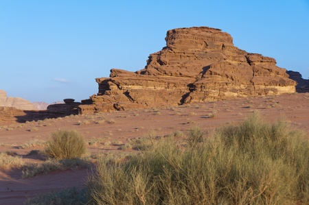 View of the desert in the later after noon in Wadi Rum, Jordan photo