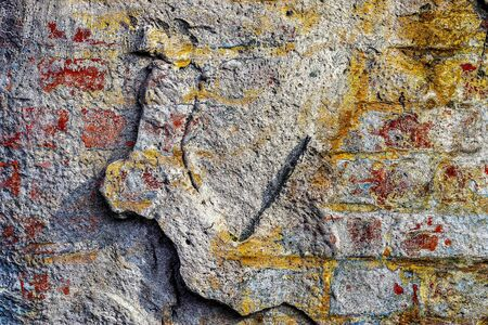Detailed close up view on old brick walls at historical buildings Stock Photo