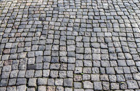 Detaillierte Nahaufnahme auf Kopfsteinpflasterstraßentexturen in hoher Auflösung