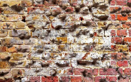 Textures of old cracked and weathered brick walls