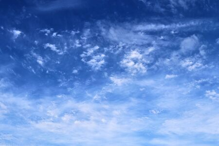 Beautiful panorama of white cloud formations in a blue sky