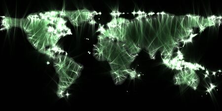 Stunning view of the world map using kirlian energy photography Stock Photo