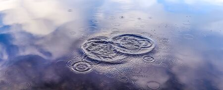 Beautiful water waves and ripples from a drop falling into a water surface of a lake 版權商用圖片