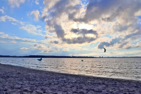 Beautiful panorama landscape of a baltic sea beach in the north of germany