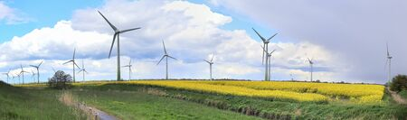 Detailed panorama of wind energy parks in northern germany close to the north sea