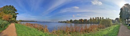 High resolution panorama view on green landscapes with a stunning sky found in northern germany