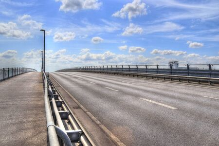 Different views at the big Kiel canal bridge in northern germany