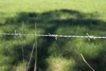 Close up view on barbed wire on a field with a soft bokeh in the background 스톡 콘텐츠