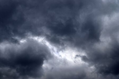 Stunning dark cloud formations in the sky right before a thunderstorm