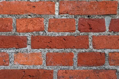 Old brick wall. Texture of old weathered brick wall panoramic background.