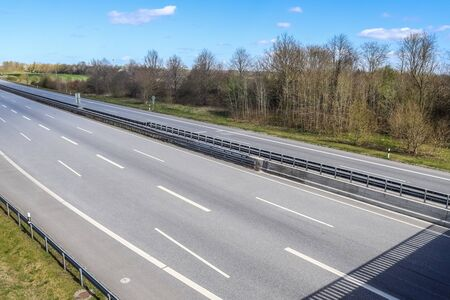 Perspective view on a european highway on a sunny day.