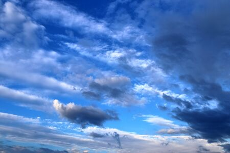 Stunning mixed cloud formation panorama in a deep blue summer sky.