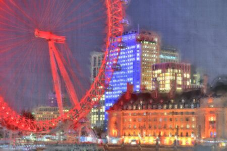 Foto of an aquarell image of London with a linen structure