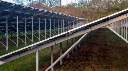 Generating clean energy with solar modules in a big park in northern Europe. Standard-Bild