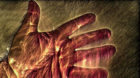 3D-Illustration of a glowing human male hand with a kirlian aura showing different symbols. Standard-Bild