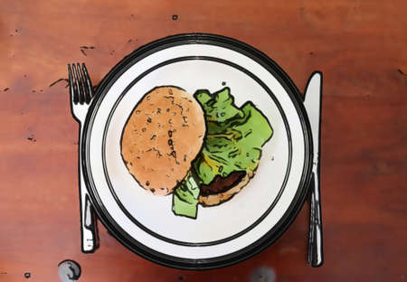 Painting of a healthy burger on a white plate Stock Photo