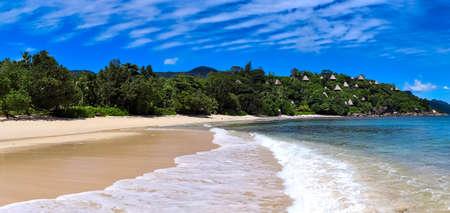 Stunning high resolution beach panorama taken on the paradise islands Seychelles. Reklamní fotografie