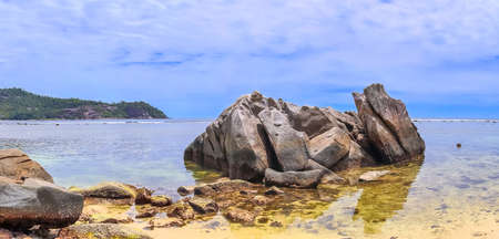Stunning high resolution beach panorama taken on the paradise islands Seychelles.