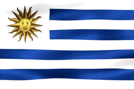 3D-Illustration of a Uruguay flag - realistic waving fabric flag.