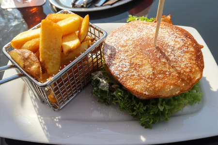 A grilled burger with salad on a plate with french fries