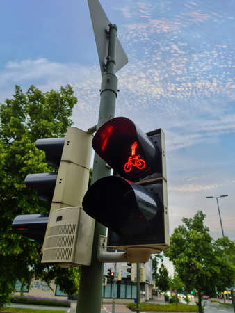 Green and red traffic lights for pedestrian and bicycles found in Germany