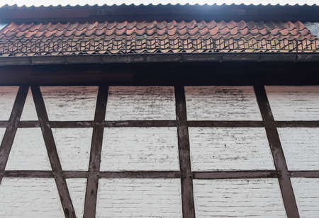Beautiful texture of old vintage half timbered brick walls found in Germany Standard-Bild