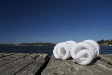 Idea for ecological activity with energy saving bulbs  Save the world Stock Photo - 13854194