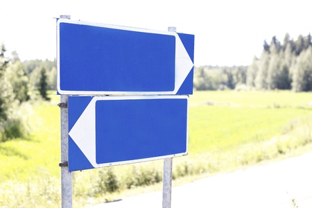 crossroads sign: Empty road sign concept for rewrite process