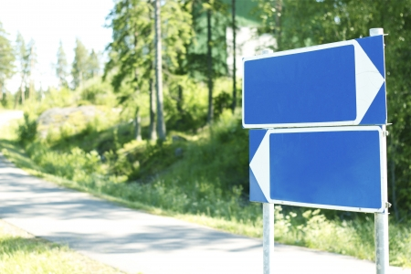 Empty road sign concept for rewrite process  Stock Photo - 14414864