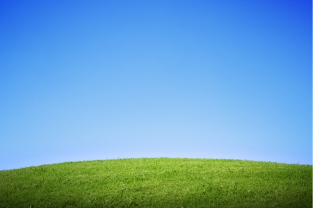 Green grass field and hill with empty sky Stock Photo - 14780815