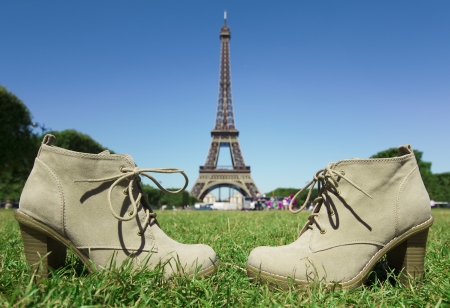 Shoes relaxing in a park near Eiffel Tower in Paris, France Stock Photo - 15183295