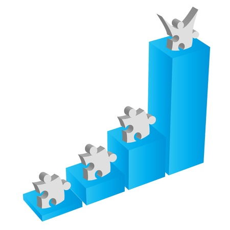 Puzzle piece teamwork works for business metaphor Stock Photo