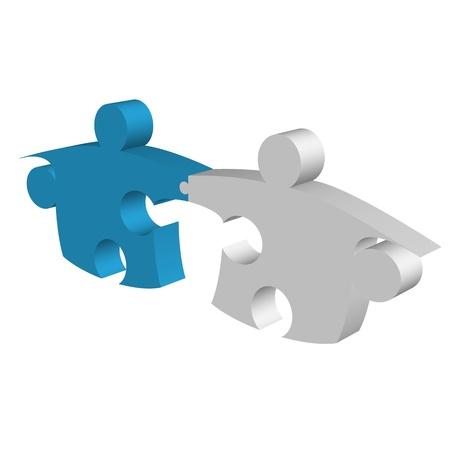 Puzzle parçaları el sallayarak ve metafor bağlantı Stock Photo
