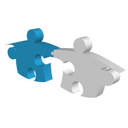 Puzzle pieces shaking hands and connecting metaphor photo