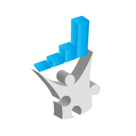 Puzzle piece man holding graph for business success Stock Photo - 15385188