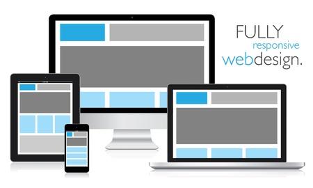 Elektronik cihazlarda tam duyarlı web tasarım Illustration