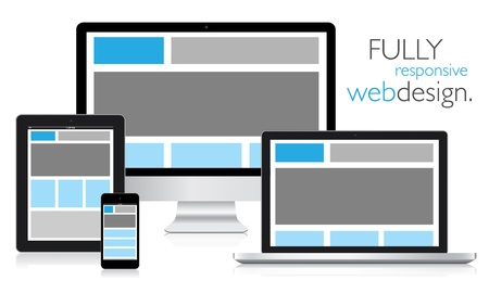 web icons communication: Fully responsive web design in electronic devices