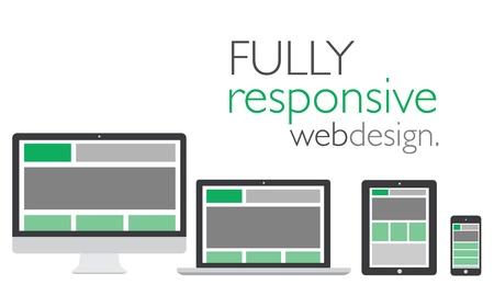 웹: 전자 아이콘 장치에서 완전 반응 웹 디자인 일러스트