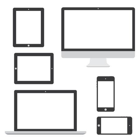 Ordinateur portable tablette téléphone isolement logo