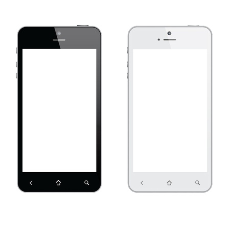touch screen phone: Realistic mobile phone isolated Illustration