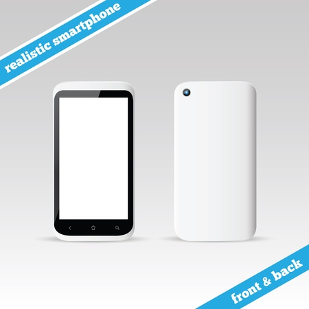 Empty realistic white smartphone front and back Stock Vector - 16661383