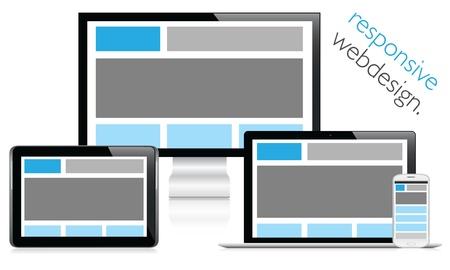 Elektronik cihazlarda duyarlı web tasarım Illustration