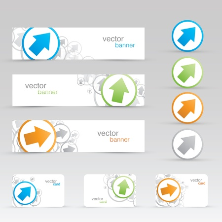 arrow banners and business cards templates  Vector